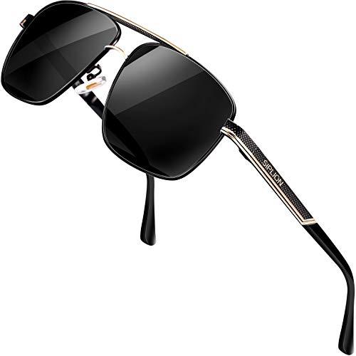 SPLION Herren Fahrerbrille Polarisierte Sonnenbrille Rechteckige Metall Rahmen Schwarz 1823