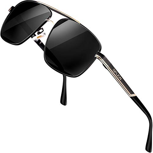 SIPLION Gafas de sol Hombre Polarizadas Gafas de sol para Hombre rectangulares 1823negro