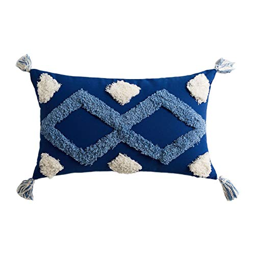 S-TROUBLE 30x50cm Boho Marruecos Lumbar Throw Pillow Case Blanco Azul Patrón geométrico Tejido Copetudo Borlas Rectángulo Funda de cojín para sofá Sofá Dormitorio