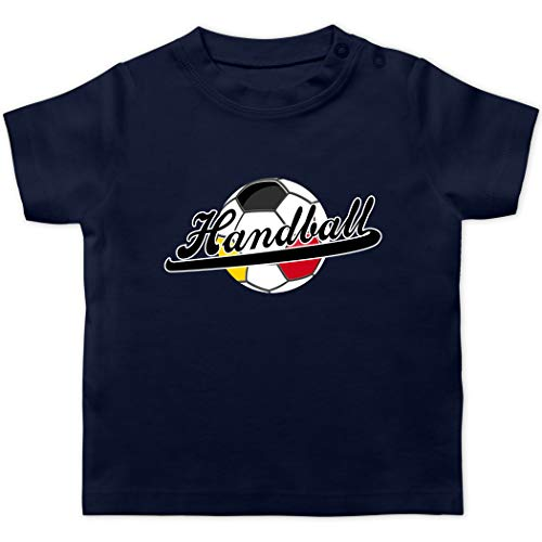 Handball WM 2021 Baby - Handball Deutschland - 3/6 Monate - Navy Blau - Handball Nationalmannschaft - BZ02 - Baby T-Shirt Kurzarm