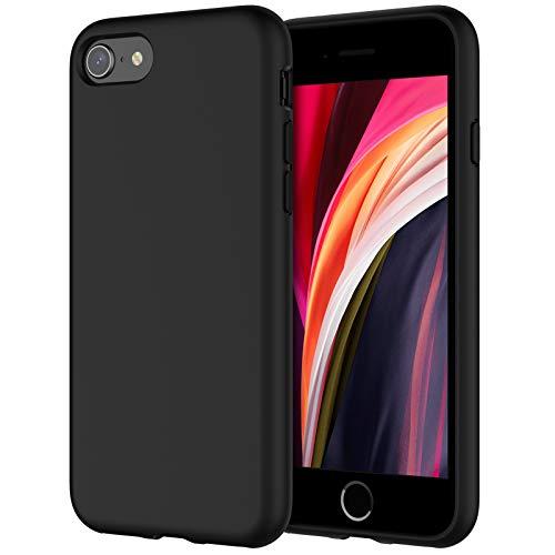 "JETech Funda de Silicona Compatible iPhone SE 2020 4,7"", Sedoso-Tacto Suave, Cubierta a Prueba de Golpes con Forro de Microfibra, Negro"