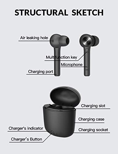 Bluedio Auricolari Bluetooth, Hi (Hurricane) Cuffie TWS Mini Bluetooth 5.0 Auricolari Wireless Stereo Senza Fili Sportivi in Ear con Custodia da Ricarica, Cuffie per iOS Android Smartphone