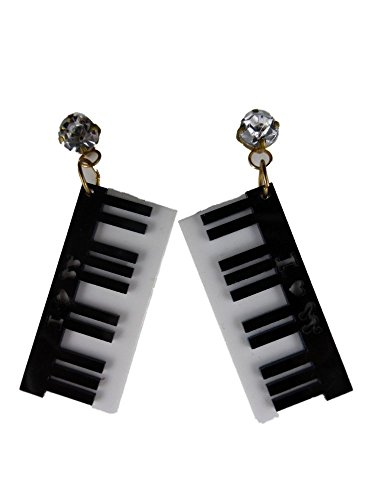 Ohrringe Stecker Ohrstecker Edelstahl Kunststoff Tastatur Klavier Musik Konzert 6361