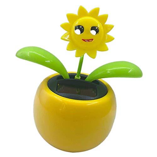 Juguete de flores de baile con solapa solar para decoración de salpicadero de coche, juguete de flores de baile automático, regalo para niños, girasol 2, 10,5 x 6,5 x 11,3 cm, duradero y útil