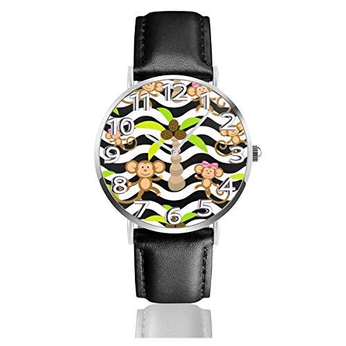 Reloj de Pulsera Monkey Kid Tropical Palm Durable PU Correa de Cuero Relojes de Negocios de Cuarzo Reloj de Pulsera Informal Unisex