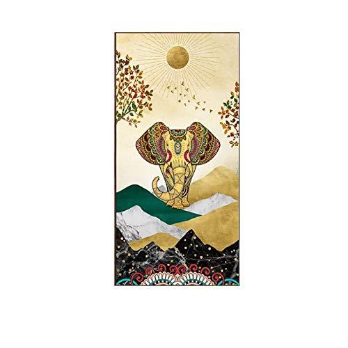 SDGW Elefantes Auspiciosos De Estilo Tailandés En La India Carteles E Impresiones Lienzo Arte Pintura Cuadros De Pared para Pasillo Sala De Estar Decoración del Hogar-50X100Cm Sin Marco