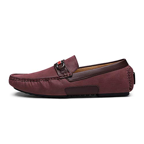 BRUNO MARC NEW YORK Men's Santoni-05 Burgundy Penny Loafers Moccasins Shoes Size 10.5 M US