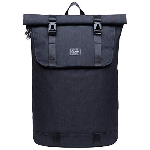 KAUKKO Zaino Roll-Top Uomo con Apertura Ripiegabile Daypacks Casual Laptop borsa per notebook da 14 adatta per escursioni in campeggio