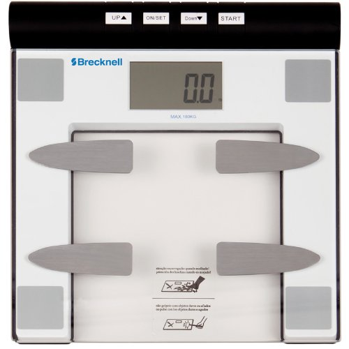 Brecknell BFS-150 Digital Body Fat Bathroom Scale, 396 lb. Capacity, 12 User Memory, Easy to Clean Top, Large LCD, Glass Top, White