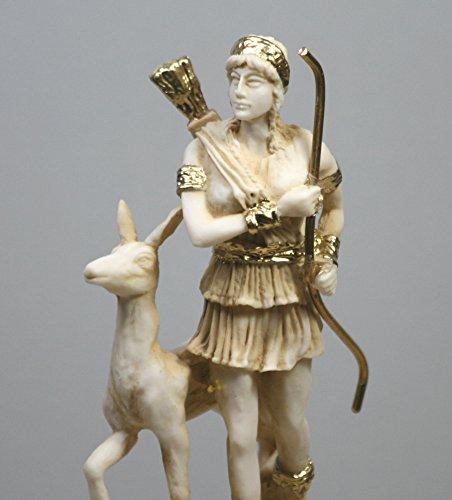 Griechische römische Göttin Artemis Diana Alabaster Statue Skulptur Figur bunt 16,5 cm