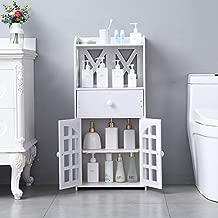 Henf Bathroom Storage Floor Cabinet Free Standing with Drawer, Shelf, Double Door Compartment Multifunctional Bathroom Organizer, White