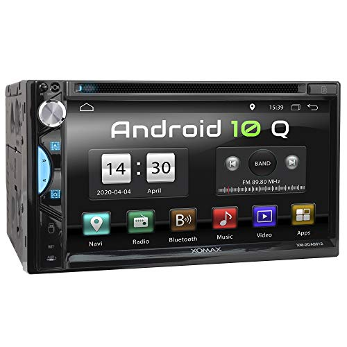 XOMAX XM-2DA6912 Autoradio mit Android 10, Quad Core, 2GB RAM, 32GB ROM, GPS Navigation I Support: WiFi WLAN, 3G 4G, DAB+, OBD2 I Bluetooth, 6,9 Zoll / 17,5cm Touchscreen, DVD, CD, USB, SD, AUX, 2 DIN