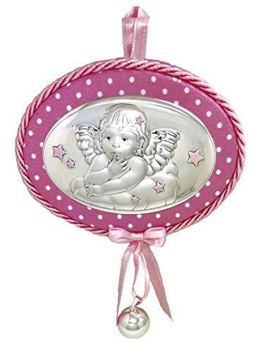 Medaglia musicale per culla o passeggino con angelo custode con campanellino incluso.