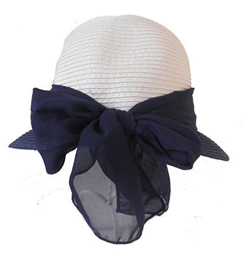 Damen Hut Schute eleganter Kofferhut Strohhut/Papierstroh Sommer Strand Sonne (Weiß/Blau)