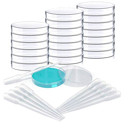 10 PCS Petri Dish Set with Lids - 90mm x 15mm - Vented - Plastic, Sterile Petri Dishes with 10 Plastic Transfer Pipettes (3mm) - Perfect Kit for School Science Fair Project and Party