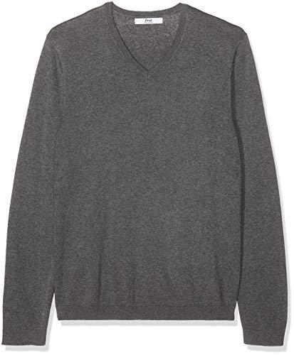 find. Men's Cotton V-Neck Sweater, (Charcoal Grey Marl), Medium