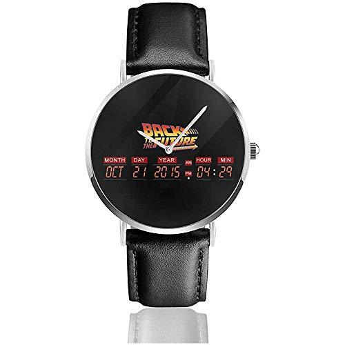 Unisex Delorean Countdown-Zeitmaschine Zurück in die Zukunft Uhren Quarzlederuhr mit schwarzem Lederband