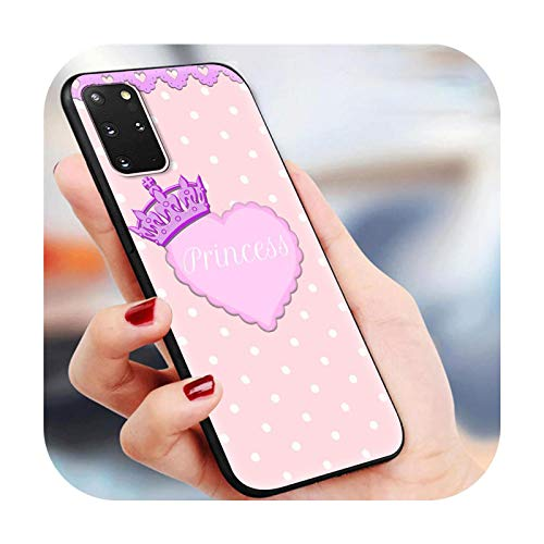 Funda para Samsung Galaxy S20 FE S10 Plus S21 Ultra 5G S10e S8 S9 Plus S7 Edge suave negro cubierta bonita brillante corazón del amor -B04-para Samsung S10 Plus