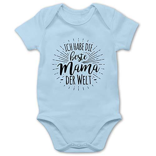 Sprüche Baby - Ich Habe die Beste Mama der Welt - 3/6 Monate - Babyblau - Mama Tshirt Baby - BZ10 - Baby Body Kurzarm für Jungen und Mädchen