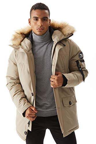 Molemsx Mens Down Jacket, Men's Warm Parka Puffer Jacket for Cold Weather Classic Club Padded Jacket Winter Down Jacket with Hood Faux-Fur Trim for Men Beige Large