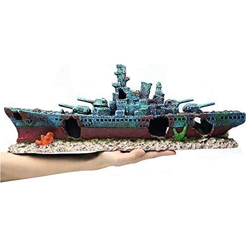 LIPETLI Retro Schlachtschiff Aquarium Dekoration Aquarium Landschaftsbau Kriegsschiff Wrack Gebrochen Schiffswrack Ornament Geeignet für Fische Wasserorganismen