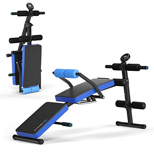 Goplus Adjustable Sit Up Bench, Foldable Utility Weight Bench w/LCD Monitor Flat/Incline/Decline Exercise Multi-Purpose Bench for Home, Gym and Office (Blue)