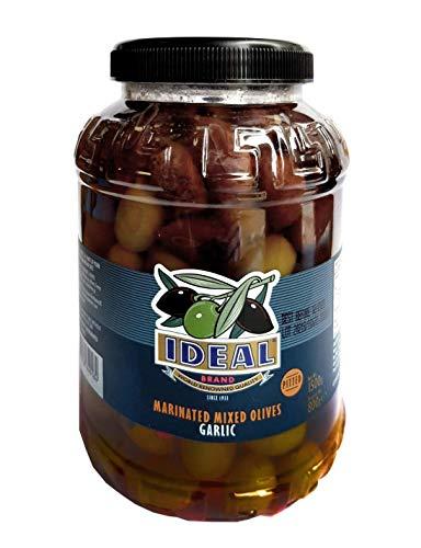 Aceitunas deshuesadas de marca Ideal de Grecia (Net 1500g, Escurrido 740g) (Aceitunas mixtas marinadas de ajo)