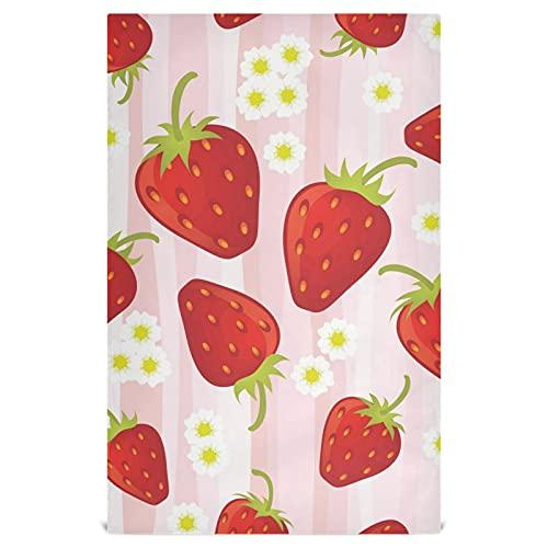 Naanle Daisy - Juego de 4 paños de cocina de fresa reutilizables, paños de limpieza absorbentes, toallas de mano, toallas de té, toallas de bar, para el hogar, secado rápido, 71 x 45 cm
