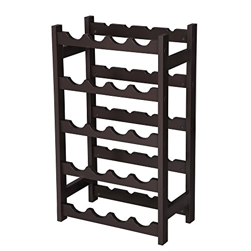 VASAGLE Wood 20 Wine Display Rack, Standing Bottles Storage Shelf, Wobble-Free, Espresso ULWR01BR