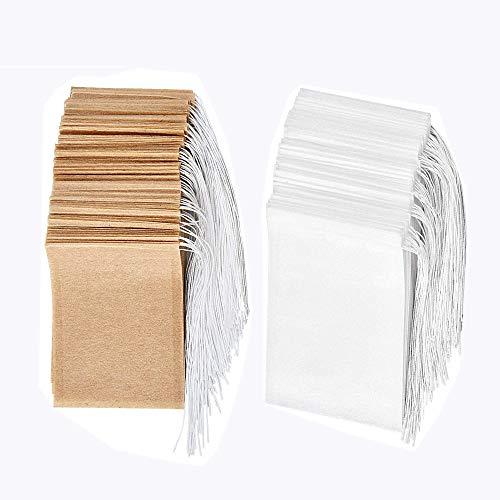 Set de bolsas de filtro de te desechables de 200, Bolsa de te de papel de un solo uso con material seguro y natural con cordon, bolsa de infusion de te vacia.