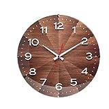 JYV Reloj de Pared de Madera silenciosa del Reloj del v Decorativo árabe Reloj Redondo numerales (Color : A)