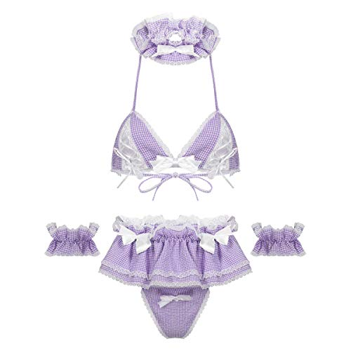 Kaerm 5Pcs Womens Japanese Anime Maid Cosplay Costume Lingerie Set Plaid Lace-up Bra Tops Panties Apron Baby Doll Lavender A One Size