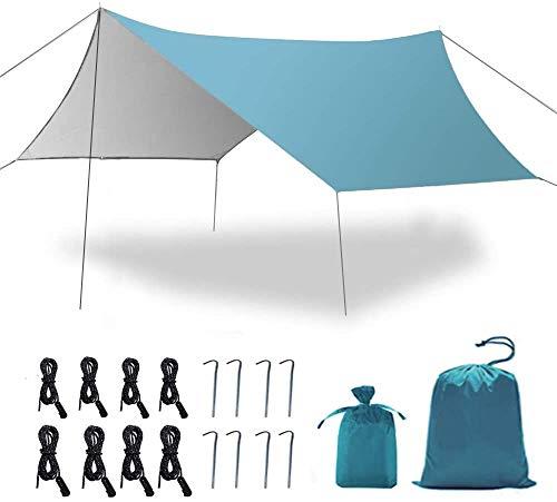 GROOFOO Zeltplanen Camping wasserdichte Tarp mit Erdnägel und Seilen, Sonnenschirm UV Leichte Tarp for Hammock Outdoor Camping (blau 3 * 3m)
