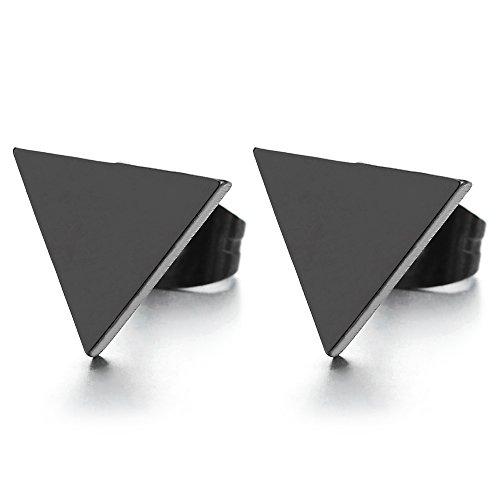 8MM Negro Planas Triángulo Pendientes de Hombre, Aretes, Acero Inoxidable, 2 Piezas