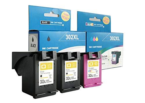 alleda Cartucho de tinta remanufacturado para HP 302XL, capacidad: negro hasta 1000 páginas, color hasta 450 páginas/% prueba de cobertura, 2 años de garantía (juego de 3 cartuchos)