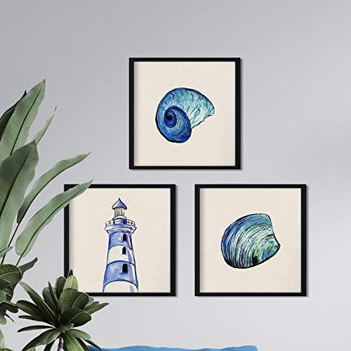 Pack de 3 láminas para enmarcar MAR AZUL. Posters con imágenes del mar. Concha, faro y caracola. Decoración de hogar. Láminas para enmarcar. Papel 250 gramos alta calidad