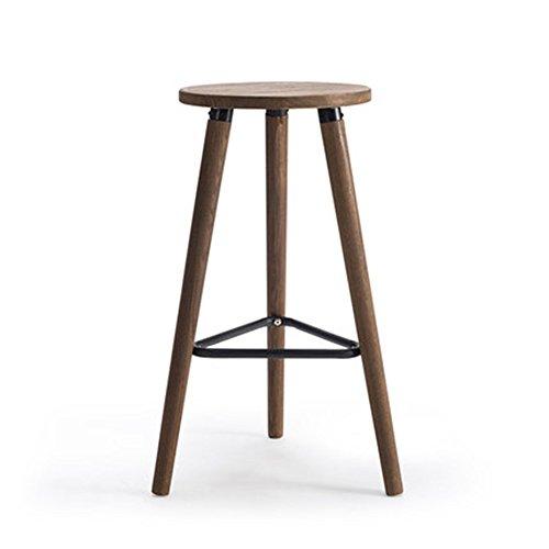 MAZHONG Tabourets Tabouret de bar en bois nouveau tabouret de bar en bois carbonisé (matière première) (Couleur : Marron)