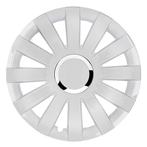 CM DESIGN 15-inch wieldoppen Onyx (wit met chromen ring). Wieldoppen geschikt voor bijna alle Ford zoals Fiesta MK3