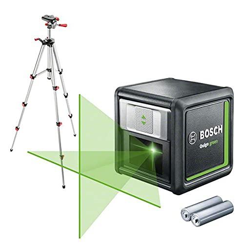 Bosch Kreuzlinienlaser Quigo Green mit Stativ (grüne Laserdiode, Arbeitsbereich: 12 Meter, 2x Batterien, im Karton)