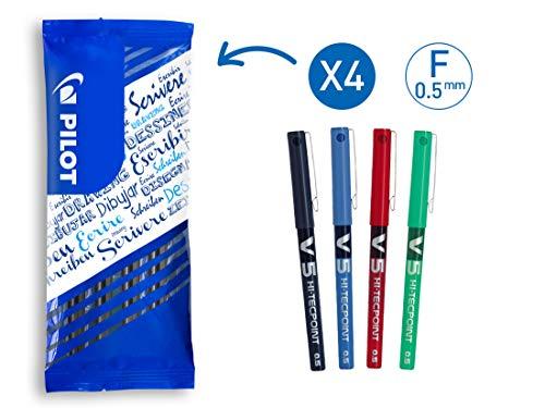 Pilot V5 - Penna roller a inchiostro liquido, punta 0,5 mm, confezione da 4, colore: Nero/Blu/Rosso/Verde
