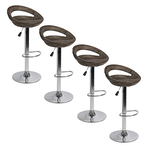 MEARTEVE Swivel Adjustable Height Bar Stools Set of 4, Round Wicker Rattan Bar Stool with Backs for Indoor, Outdoor, Backyard and Patio, Brown