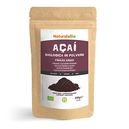 Organic Açai Berries Powder [ Freeze-Dried ] 200g. Brazilian Acai, Lyophilised, Raw. Extract from Acai Berry Pulp. Vegan & Vegetarian Friendly.