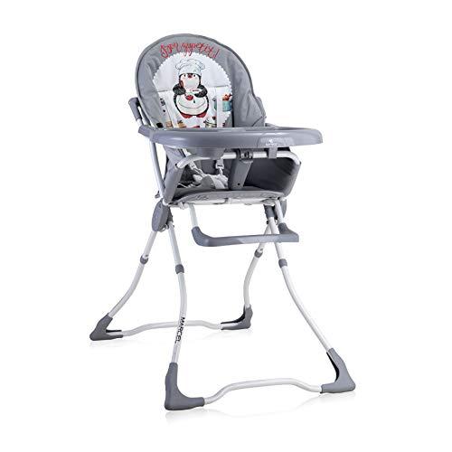 Lorelli, chaise haute Marcel, pliable, creux de tasse, tissu lavable, coloris:gris blanc