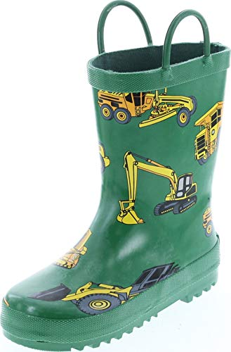 Foxfire For Kids Green Constuction Heavy Equipment Rubber Boots Size 8