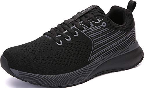 UBEFN Scarpe da Corsa Uomo Donna Ginnastica Sportive Running Sneaker 42 Nero Grigio
