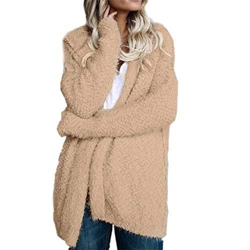 MINIKIMI damesjas pluche met capuchon winter warme cardigan lange mouwen jas teddy fleece capuchon rits outwear