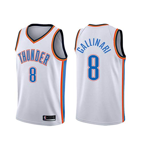 canottejerseyNBA Danilo Gallinari - Oklahoma City Thunder #8, Basket Jersey Maglia Canotta, Swingman Ricamata, Abbigliamento Sportivo (Bianco, M)