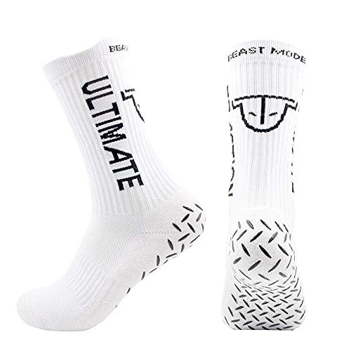 Ultimate Traction rutschfeste Fußball Socke, mit spezieller Grip Sohle & Kompression Gym/Basketball/Handball/Volleyball/AmericanFootball One-Size Größe 37,5-47 (Weiẞ)