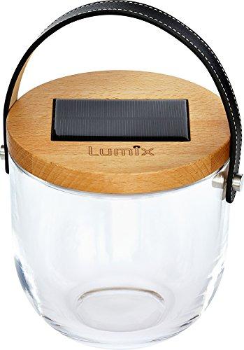 Lumix Deco Glass – Solarlampe / Solar - Laterne, Mundgeblasenes Deko Glas mit Buchenholzdeckel, Echtleder-Trageriemen und LED Beleuchtung + USB Ladefunktion