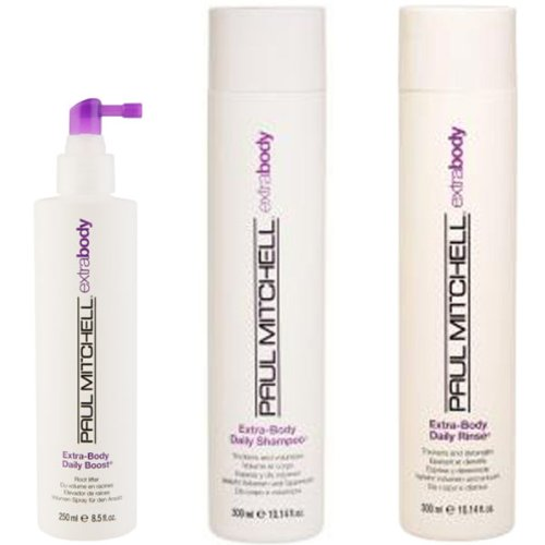 Paul Mitchell Extra Body Trio – Shampooing quotidien 300 ml, rinçage 300 ml et Boost Root Lifter 250 ml